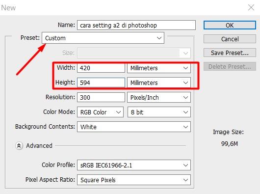 cara setting kertas a2 di photoshop
