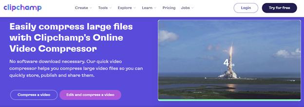 cara kompres video online di clipchamp
