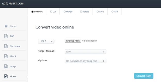 mengurangi ukuran video online dengan aconvert
