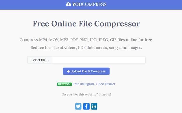 mengurangi ukuran video online dengan youcompress