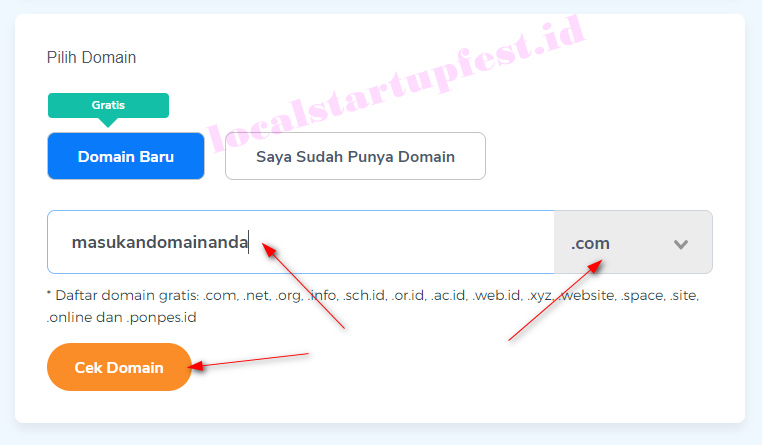 pilih nama domain website