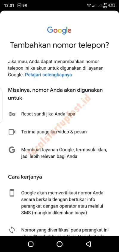 cara menambahkan nomor telepon di gmail 18