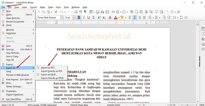 konversi word ke pdf dengan libreoffice 6